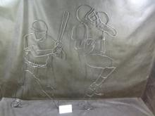 Pair of welded wire sports themed wall hangings and a sports themed photo frame(holds a 4