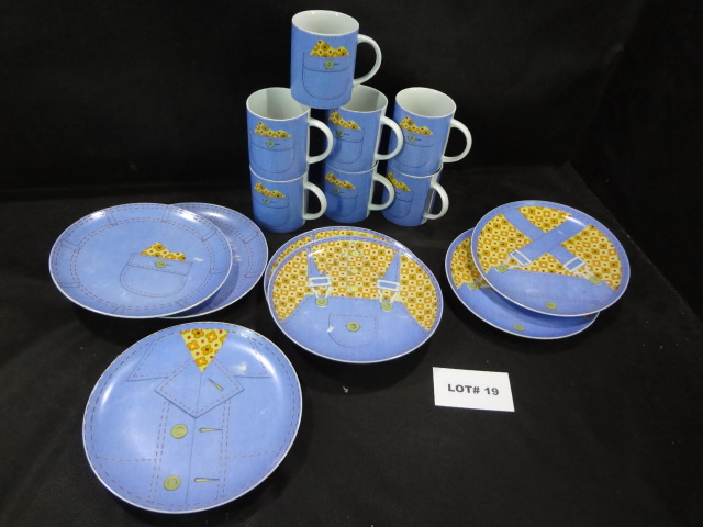 Denim themed plates and cups, seven of each, four different plate designs
