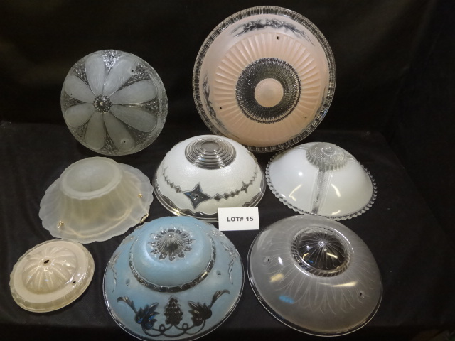 Eight antique glass light shades, various styles and sizes