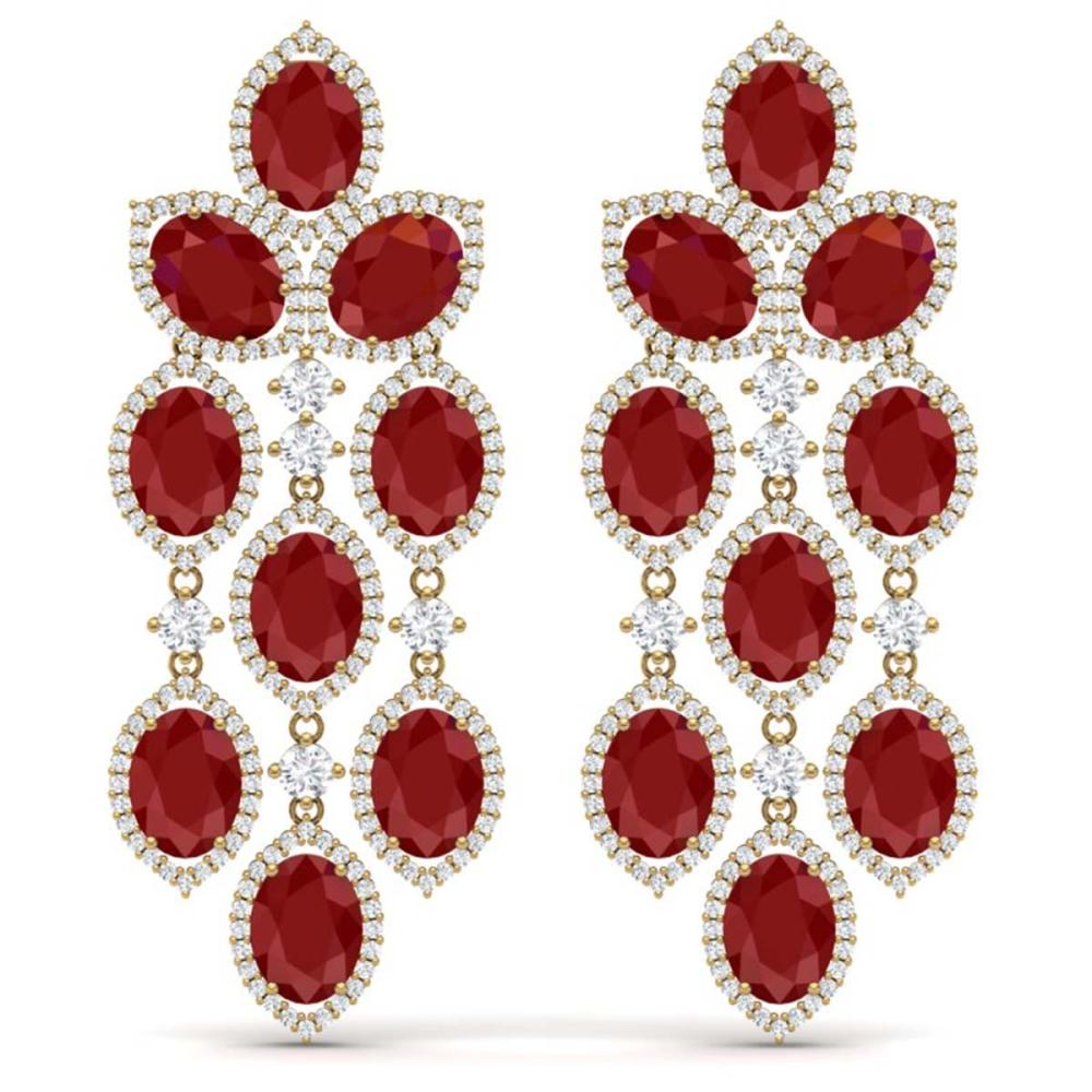 26.15 ctw Ruby & VS Diamond Earrings 18K Yellow Gold - REF-500Y2X - SKU:38927