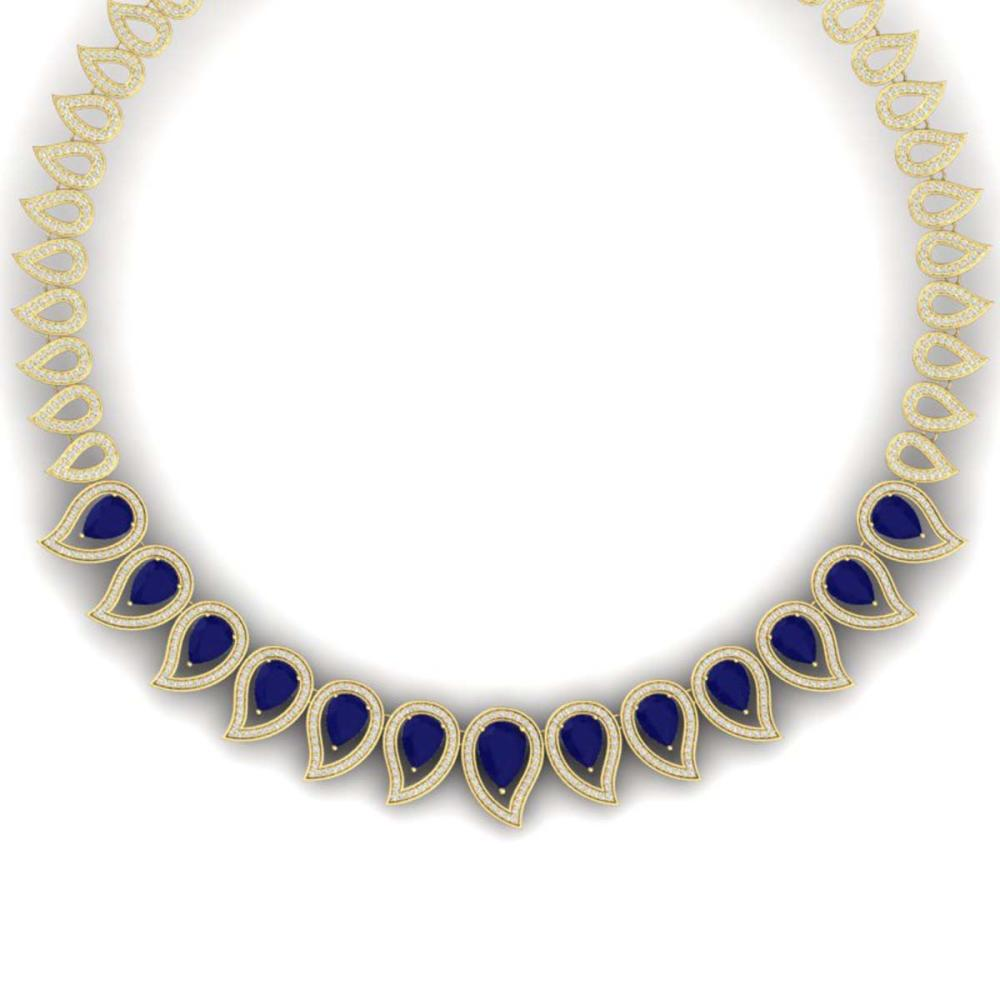 33.4 ctw Sapphire & VS Diamond Necklace 18K Yellow Gold - REF-1200Y2X - SKU:39443