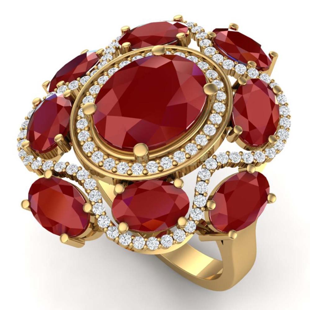 9.86 ctw Ruby & VS Diamond Ring 18K Yellow Gold - REF-218H2M - SKU:39296