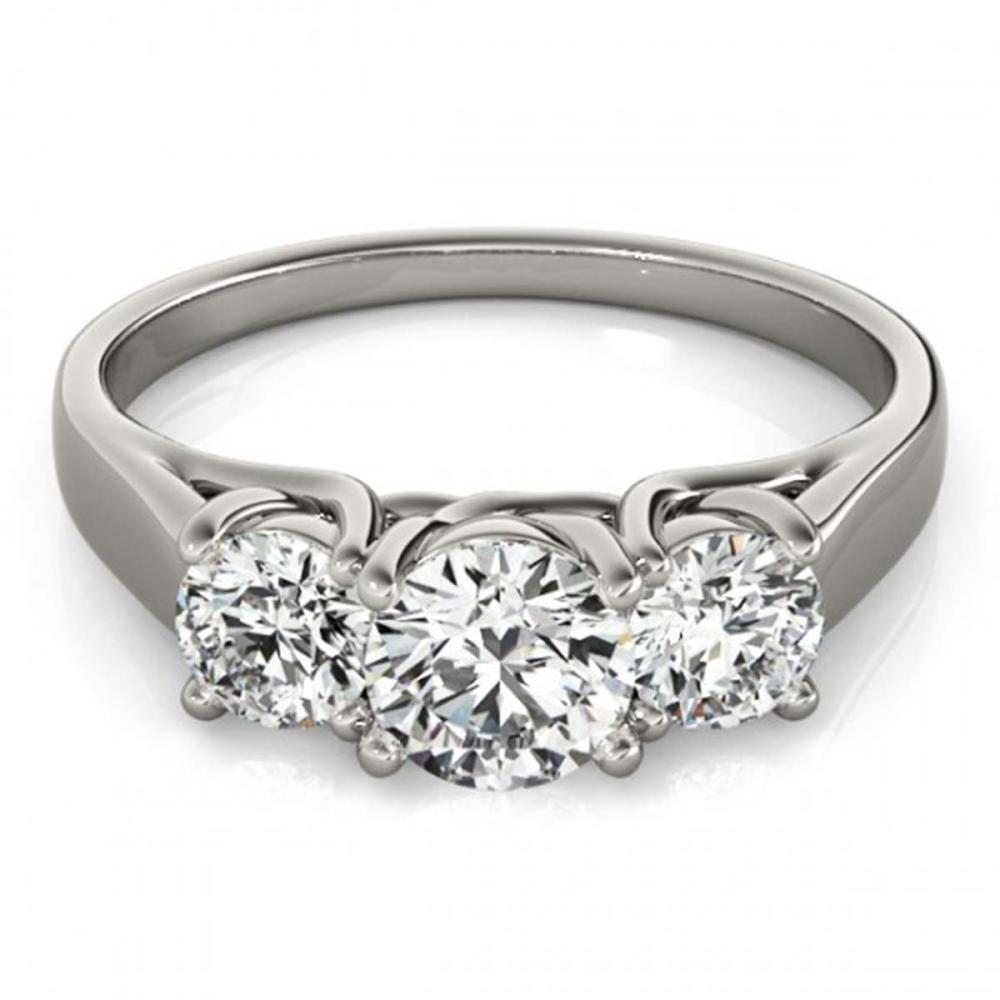1 ctw VS/SI Diamond 3 Stone Ring 18K White Gold - REF-115K3W - SKU:28050