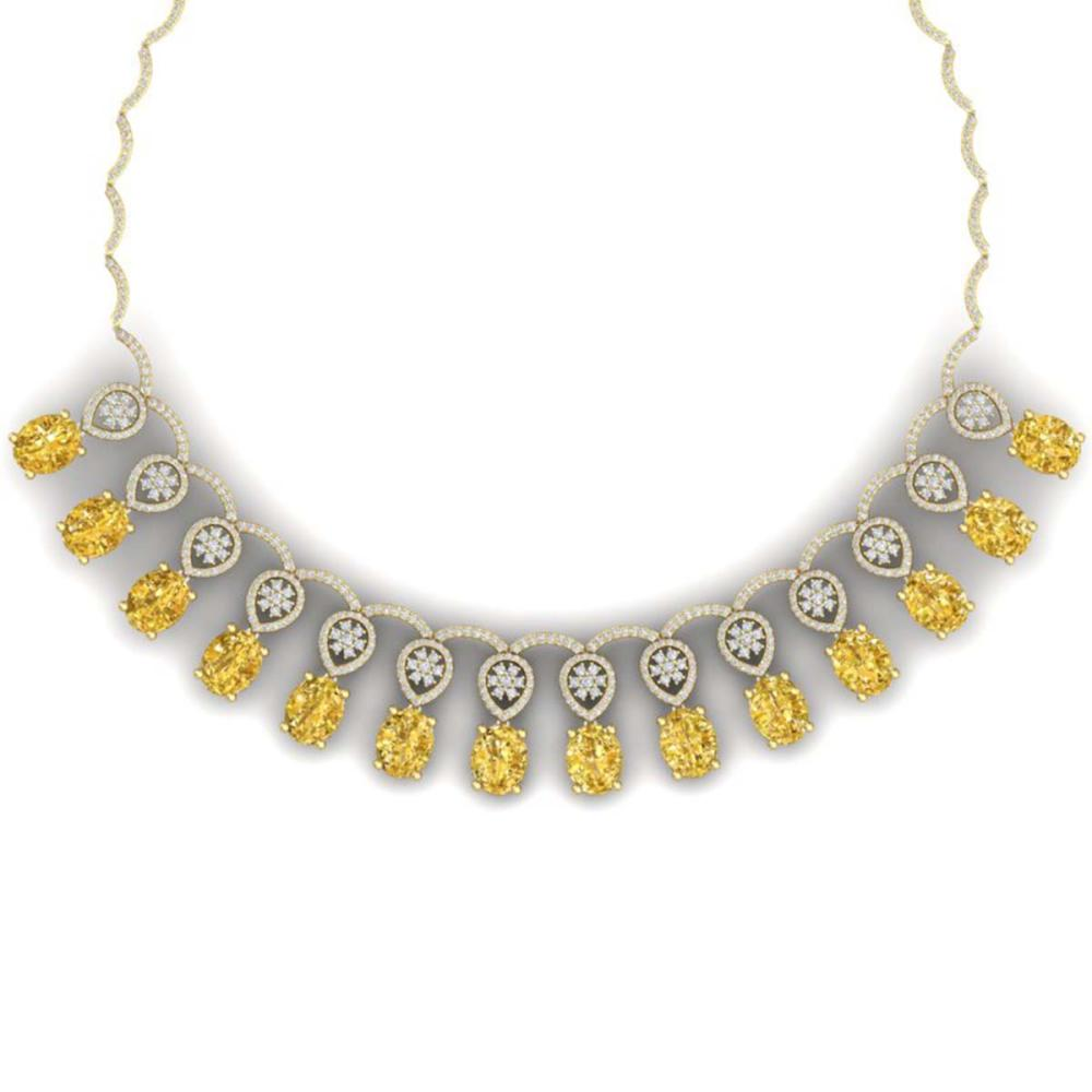 51.57 ctw Canary Citrine & VS Diamond Necklace 18K Yellow Gold - REF-927F3N - SKU:39077