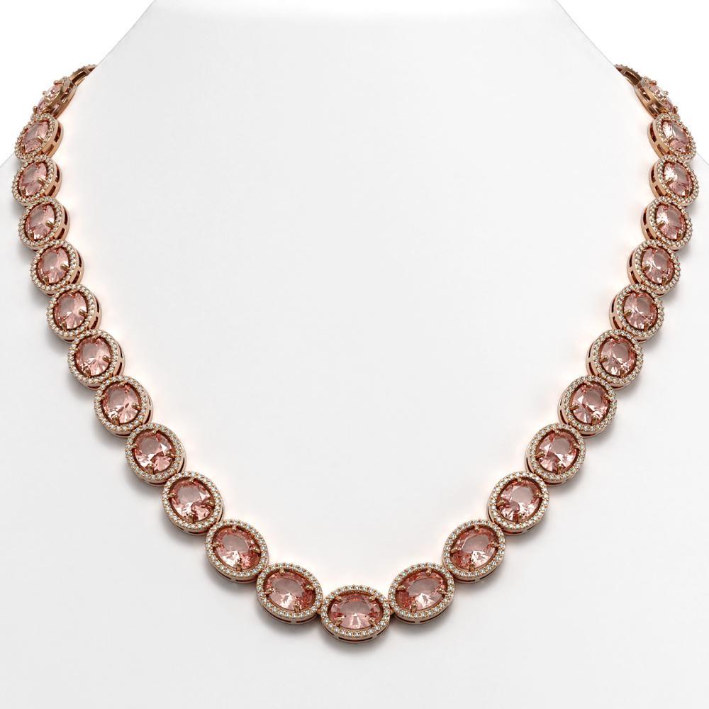 52.63 ctw Morganite & Diamond Halo Necklace 10K Rose Gold - REF-1045K5W - SKU:40662