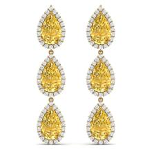 Lot 5011: 24.23 ctw Canary Citrine & VS Diamond Earrings 18K Yellow Gold - REF-290H9M - SKU:38855