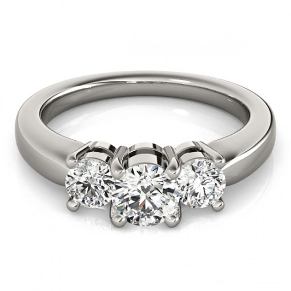 0.75 ctw VS/SI Diamond 3 Stone Ring 18K White Gold - REF-96N5A - SKU:28062