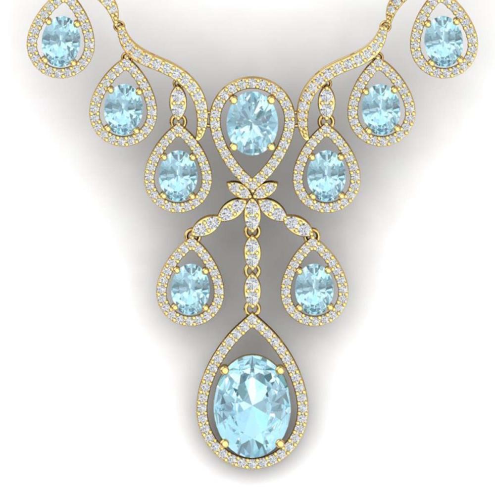 37.91 ctw Sky Topaz & VS Diamond Necklace 18K Yellow Gold - REF-800A2V - SKU:38567