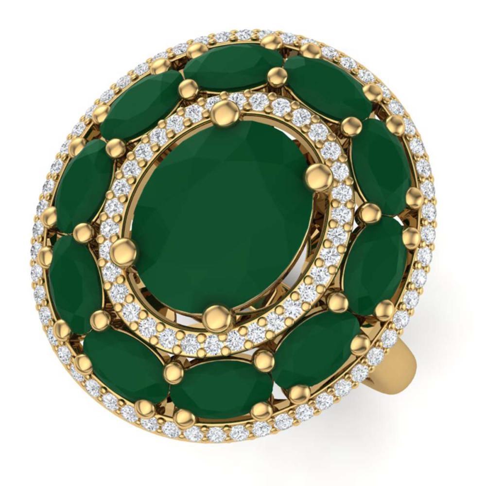 8.05 ctw Emerald & VS Diamond Ring 18K Yellow Gold - REF-153X6R - SKU:39239