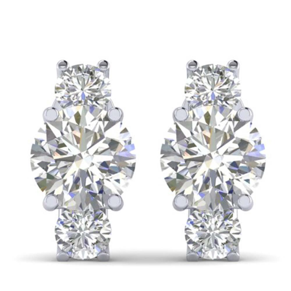 2.9 ctw VS/SI Diamond 3 Stone Stud Earrings 18K White Gold - REF-595F4N - SKU:32564