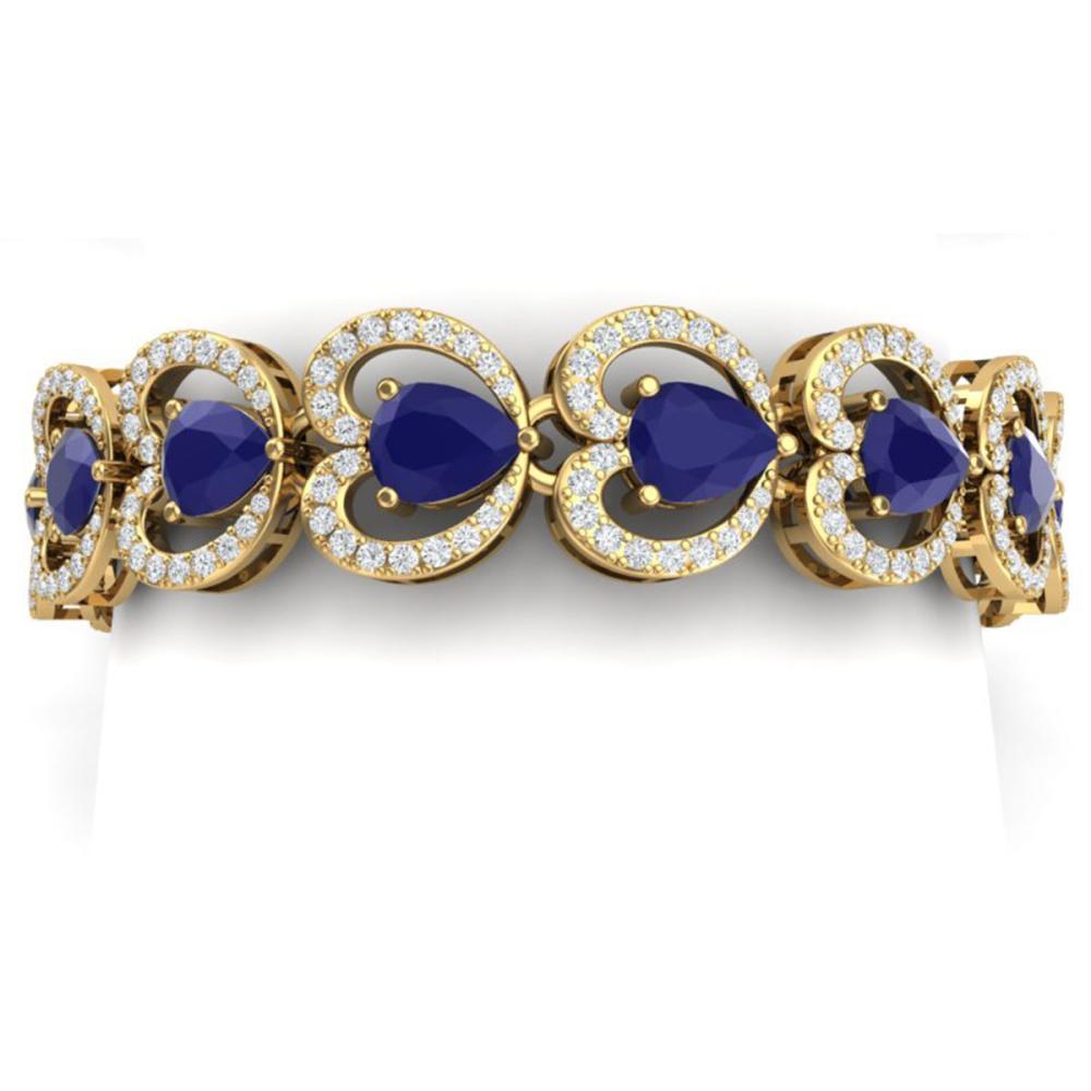32.15 ctw Sapphire & VS Diamond Bracelet 18K Yellow Gold - REF-672K7W - SKU:38693