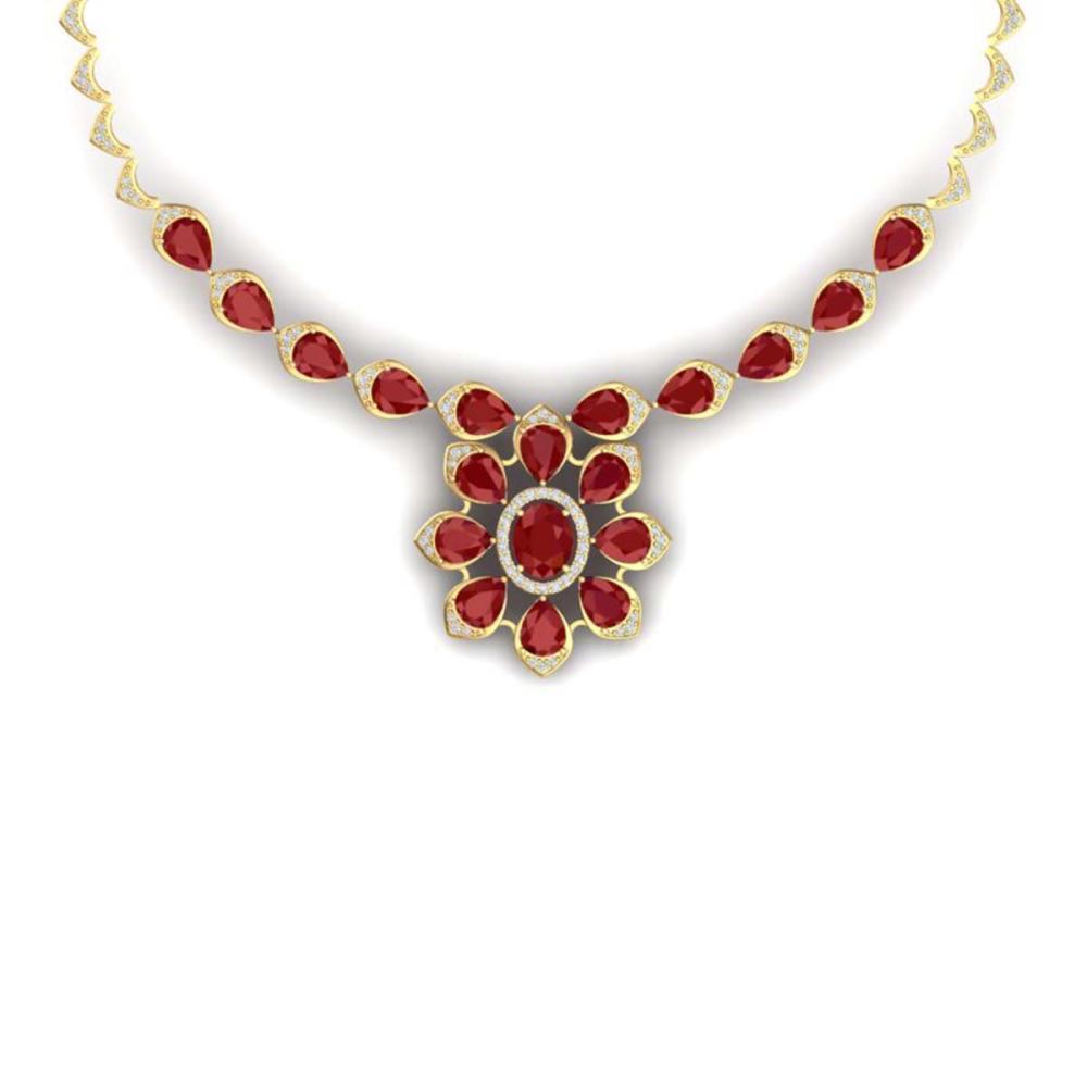 30.70 ctw Ruby & VS Diamond Necklace 18K Yellow Gold - REF-654R5K - SKU:39035