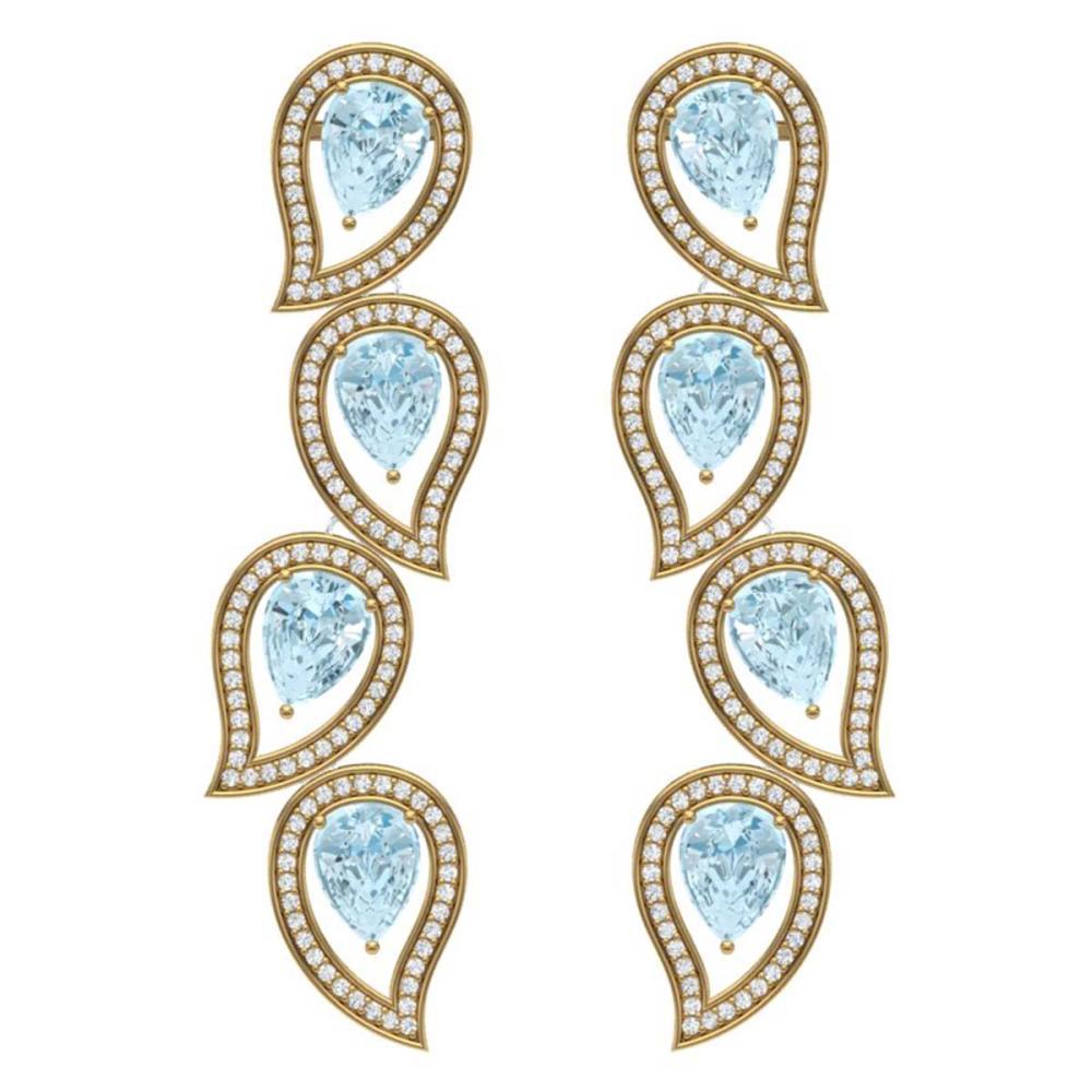 15.69 ctw Sky Topaz & VS Diamond Earrings 18K Yellow Gold - REF-281A8V - SKU:39461