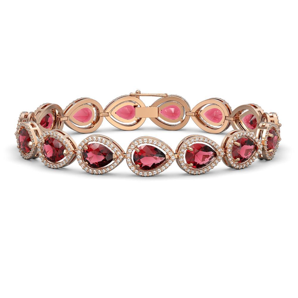 19.7 ctw Tourmaline & Diamond Halo Bracelet 10K Rose Gold - REF-509H3M - SKU:41253