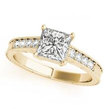 Lot 5038: 0.95 ctw VS/SI Princess Diamond Ring 18K Yellow Gold - REF-167M3F - SKU:27230