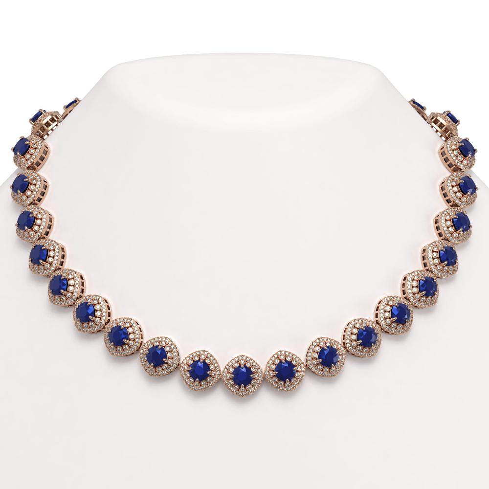 82.17 ctw Sapphire & Diamond Necklace 14K Rose Gold - REF-1926H9M - SKU:44103