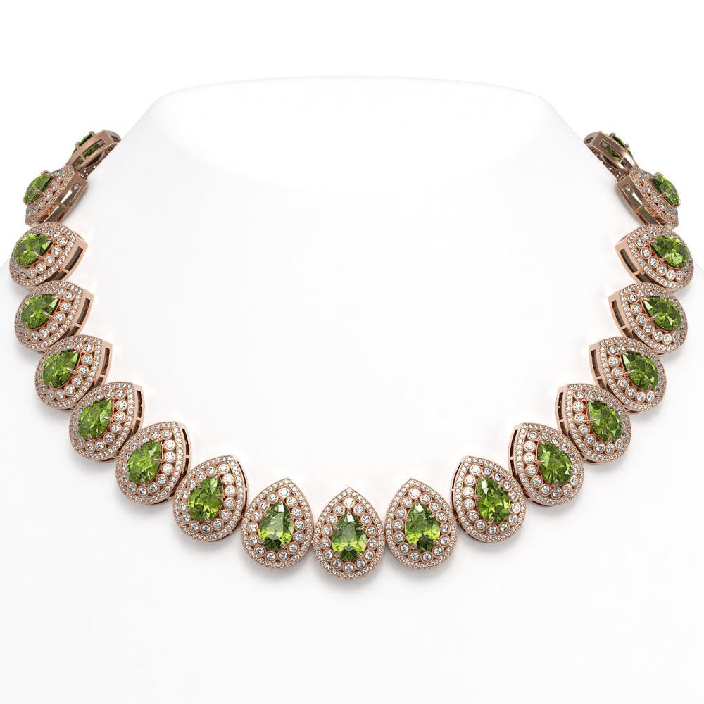 124.02 ctw Tourmaline & Diamond Necklace 14K Rose Gold - REF-3955K5W - SKU:43248