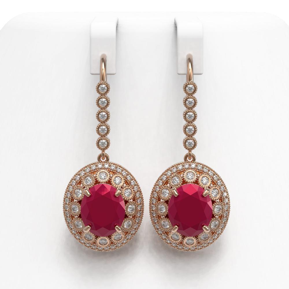 17.22 ctw Ruby & Diamond Earrings 14K Rose Gold - REF-378A5V - SKU:43767
