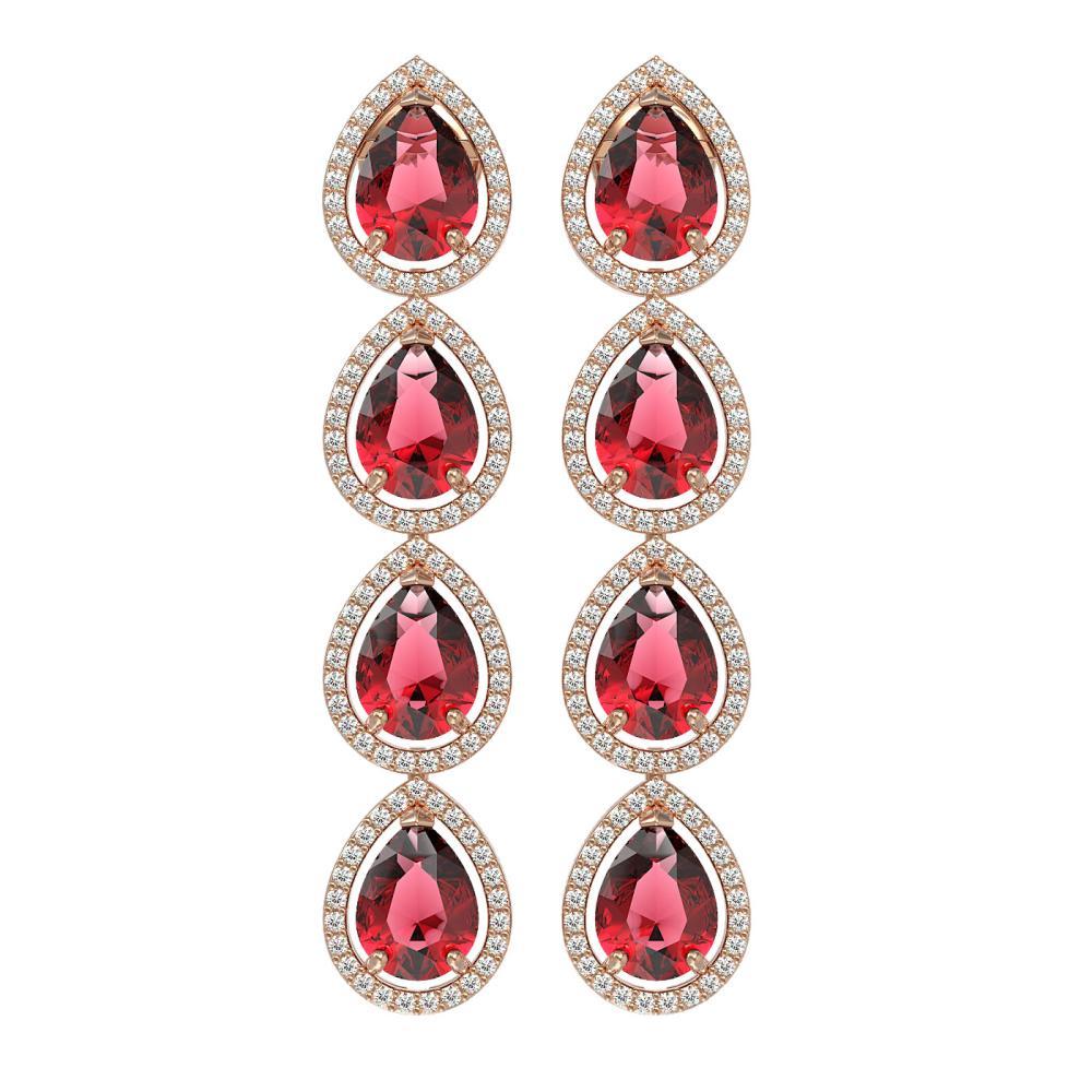 10.48 ctw Tourmaline & Diamond Halo Earrings 10K Rose Gold - REF-281M8F - SKU:41301