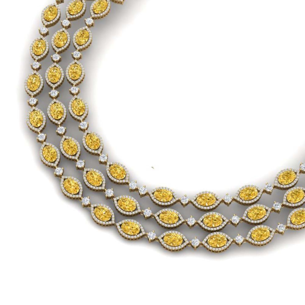 69.29 ctw Canary Citrine & VS Diamond Necklace 18K Yellow Gold - REF-1418R2K - SKU:38957