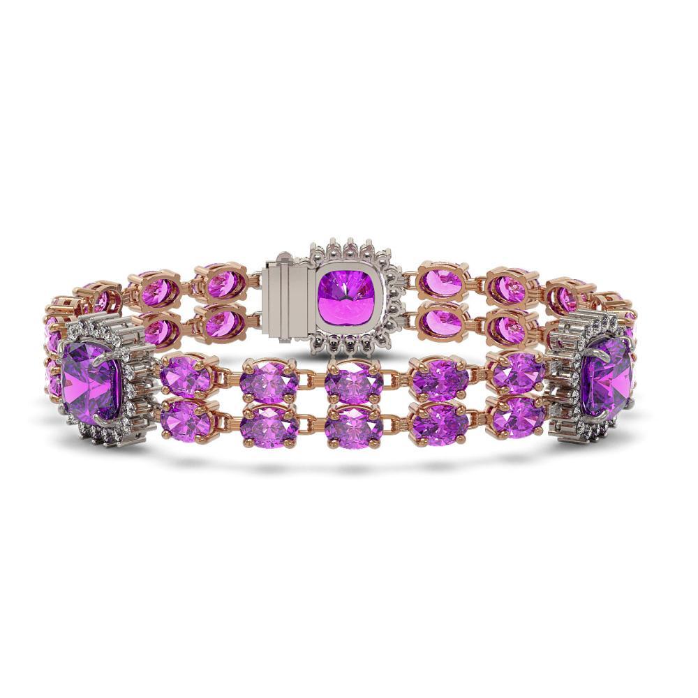 37.81 ctw Amethyst & Diamond Bracelet 14K Rose Gold - REF-277F3N - SKU:44892