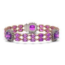 Lot 5051: 37.81 ctw Amethyst & Diamond Bracelet 14K Rose Gold - REF-277F3N - SKU:44892