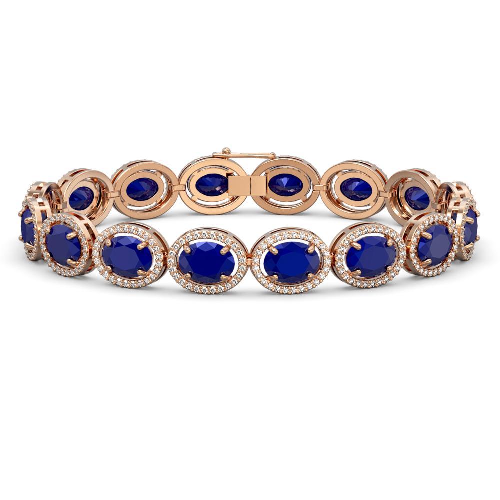 31.79 ctw Sapphire & Diamond Halo Bracelet 10K Rose Gold - REF-349R6K - SKU:40704