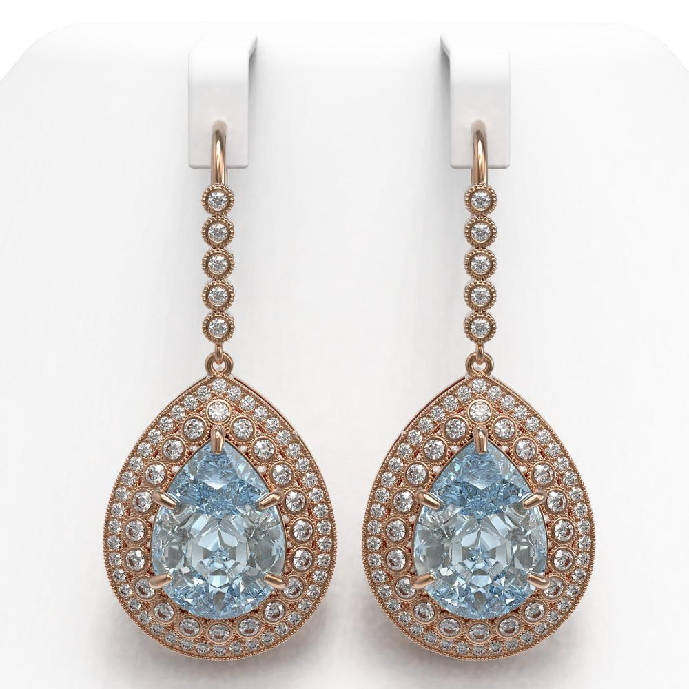 35.24 ctw Sky Topaz & Diamond Earrings 14K Rose Gold - REF-448X9R - SKU:43308