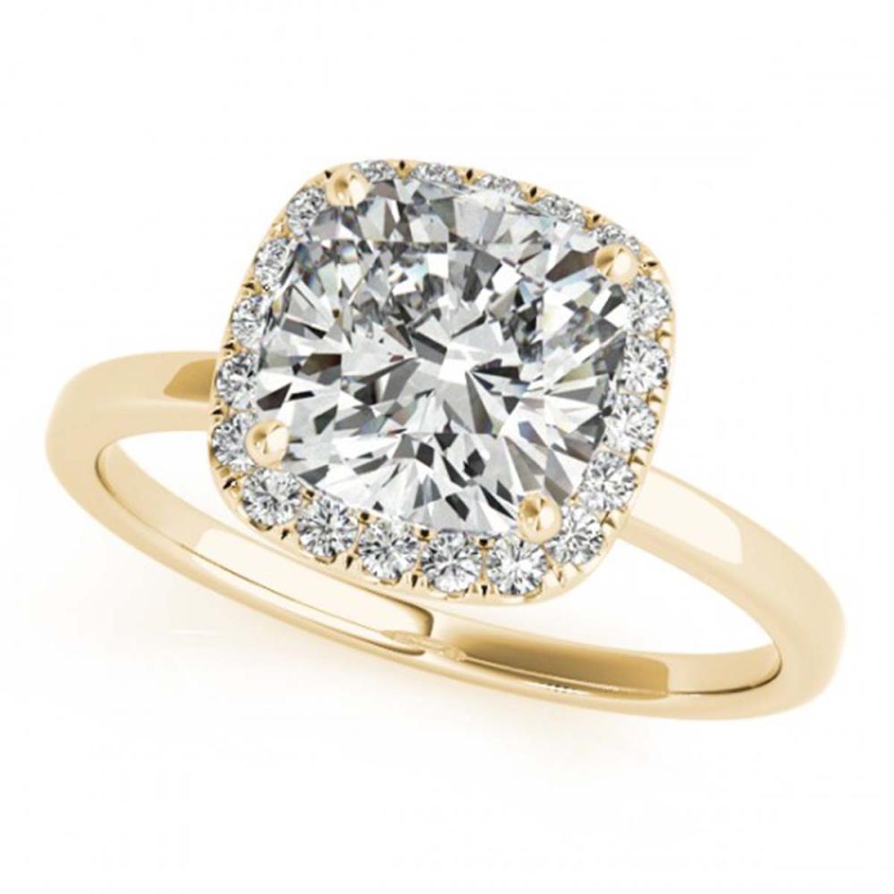 0.92 ctw VS/SI Cushion Diamond Halo Ring 18K Yellow Gold - REF-154A3V - SKU:27218