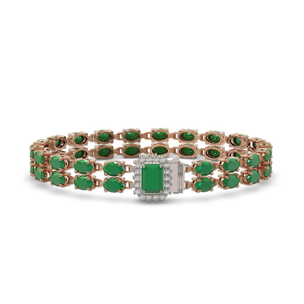29.01 ctw Emerald & Diamond Bracelet 14K Rose Gold - REF-252M4F - SKU:45765