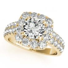 Lot 5061: 2 ctw VS/SI Diamond Halo Ring 18K Yellow Gold - REF-213F2N - SKU:26442