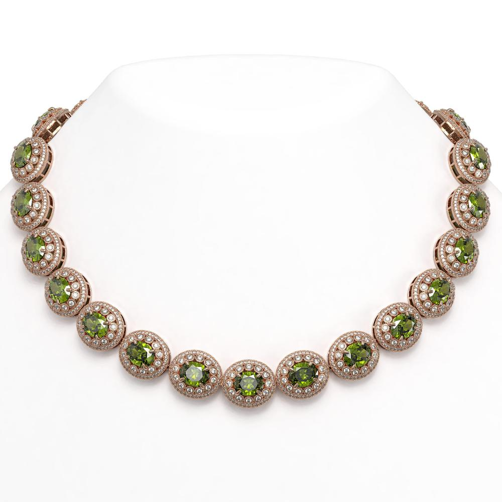 99.35 ctw Tourmaline & Diamond Necklace 14K Rose Gold - REF-2947F8N - SKU:43704