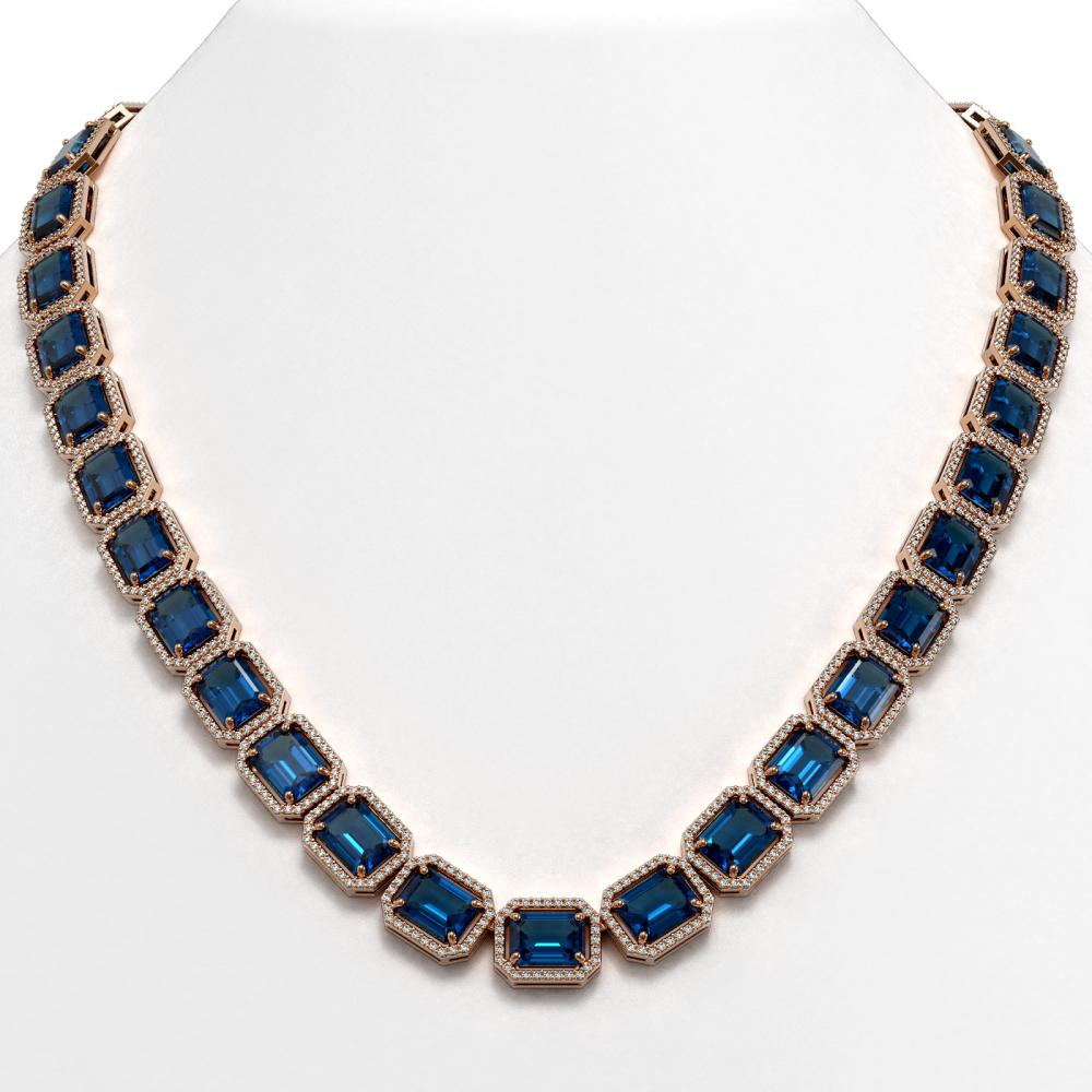 79.66 ctw London Topaz & Diamond Halo Necklace 10K Rose Gold - REF-740V2Y - SKU:41511