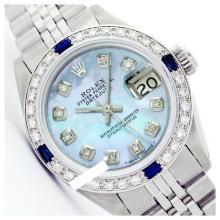 Lot 5045: Rolex Ladies Stainless Steel, Diam Dial & Diam/Sapphire Bezel, Sapphire Crystal - REF-431T5K