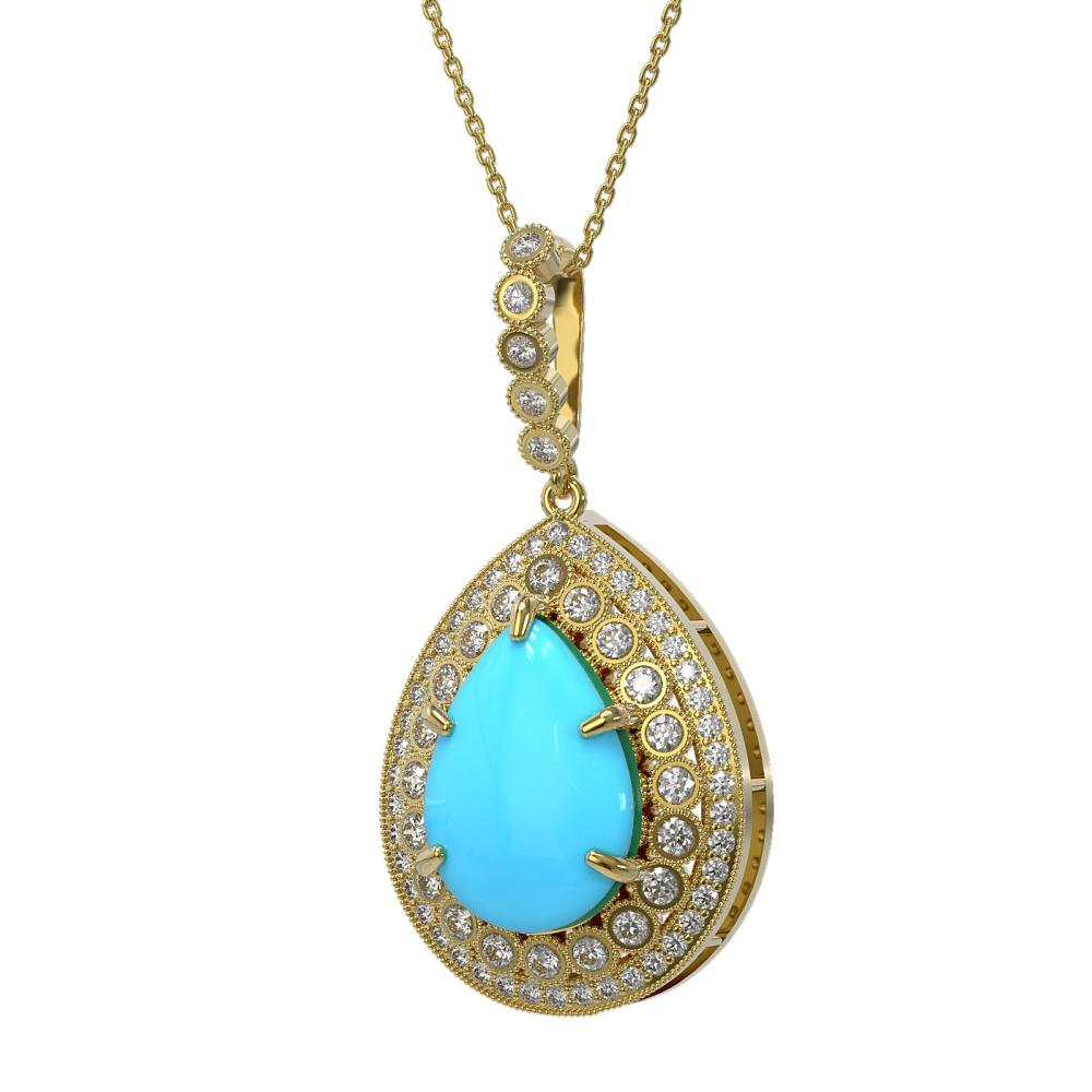 10.11 ctw Turquoise & Diamond Necklace 14K Yellow Gold - REF-214X9R - SKU:46190