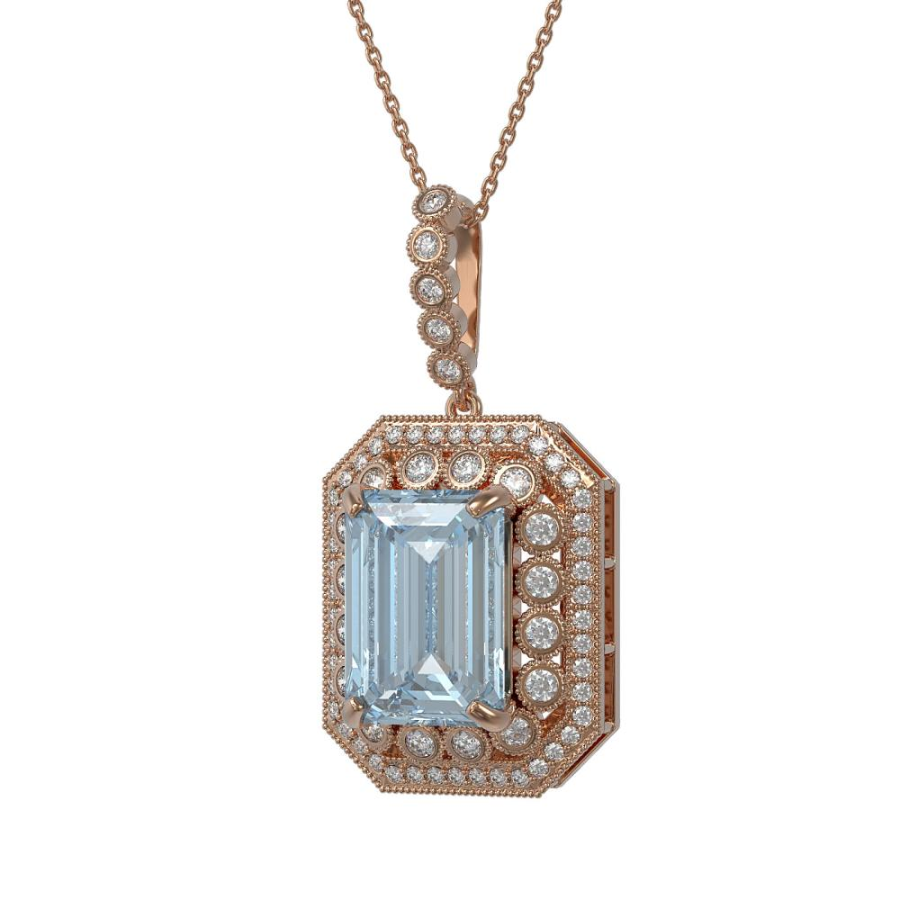 Lot 5063: 16.94 ctw Sky Topaz & Diamond Necklace 14K Rose Gold - REF-246A2V - SKU:43569