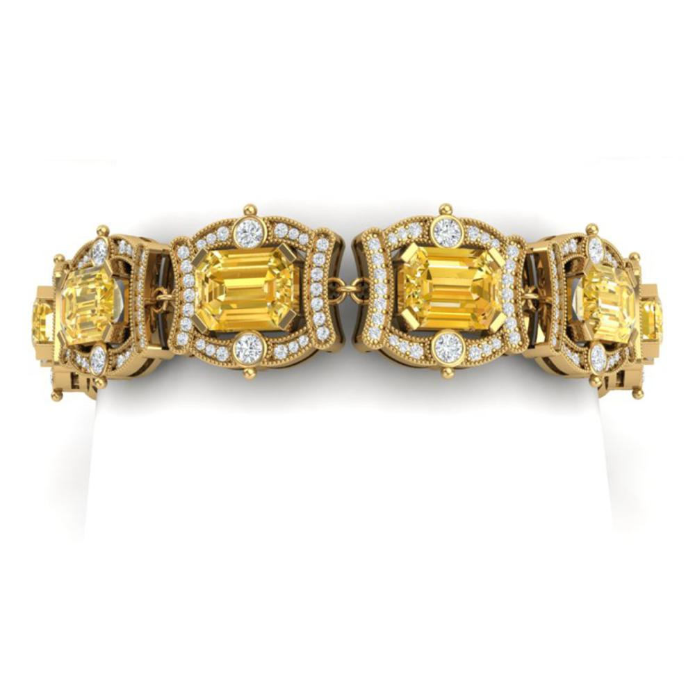 37.15 ctw Canary Citrine & VS Diamond Bracelet 18K Yellow Gold - REF-654X5R - SKU:38789