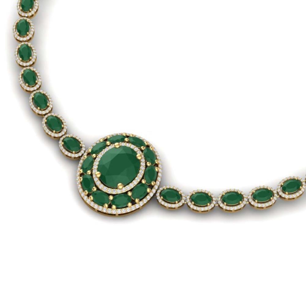 43.54 ctw Emerald & VS Diamond Necklace 18K Yellow Gold - REF-1054R5K - SKU:39275