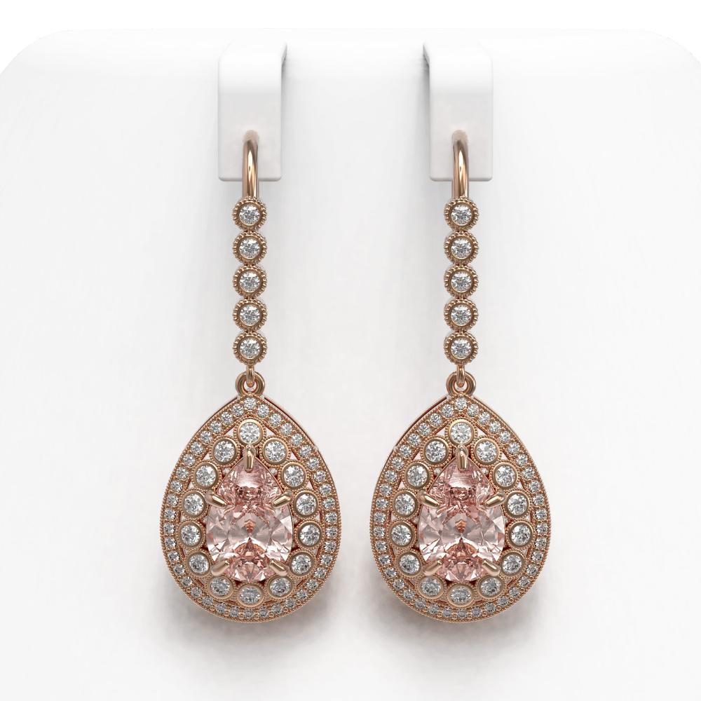 8.35 ctw Morganite & Diamond Earrings 14K Rose Gold - REF-364N2A - SKU:43170