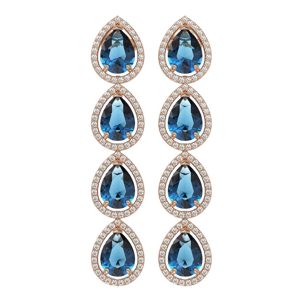 11.2 ctw London Topaz & Diamond Halo Earrings 10K Rose Gold - REF-172H7M - SKU:41319