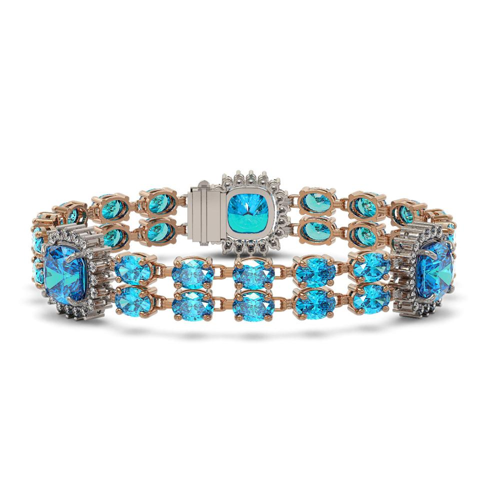 41.17 ctw Swiss Topaz & Diamond Bracelet 14K Rose Gold - REF-292R2K - SKU:44886