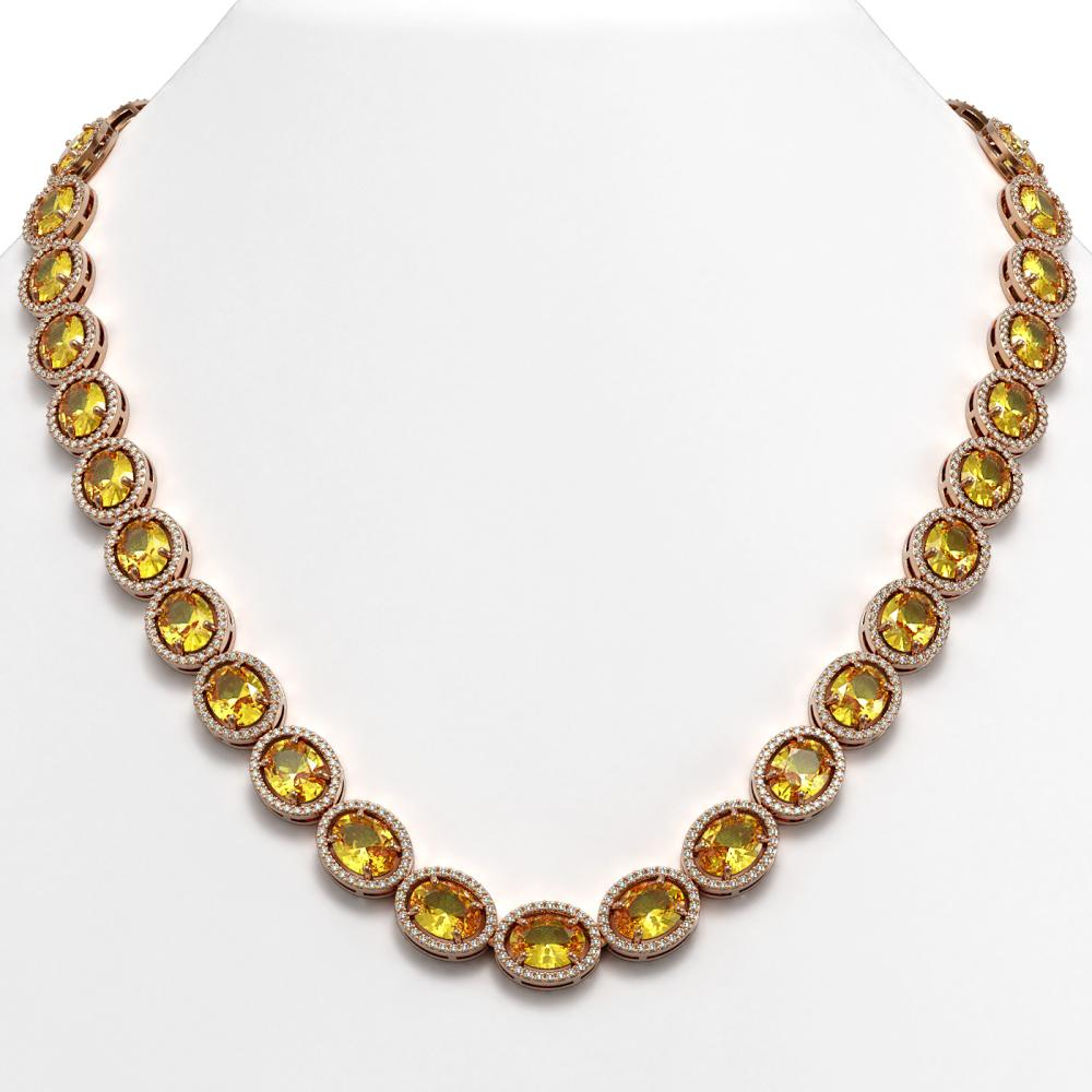 58.27 ctw Fancy Citrine & Diamond Halo Necklace 10K Rose Gold - REF-654Y5X - SKU:40692