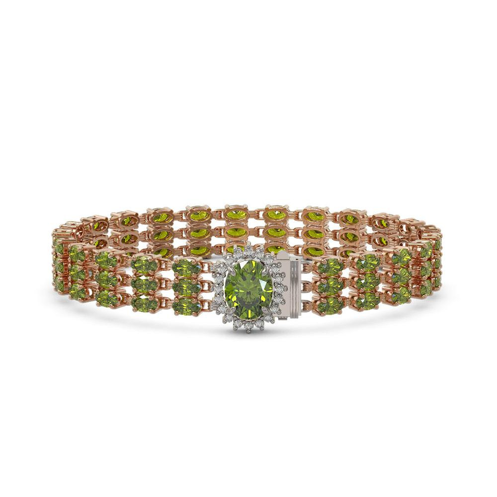 26.4 ctw Tourmaline & Diamond Bracelet 14K Rose Gold - REF-248V3Y - SKU:45843