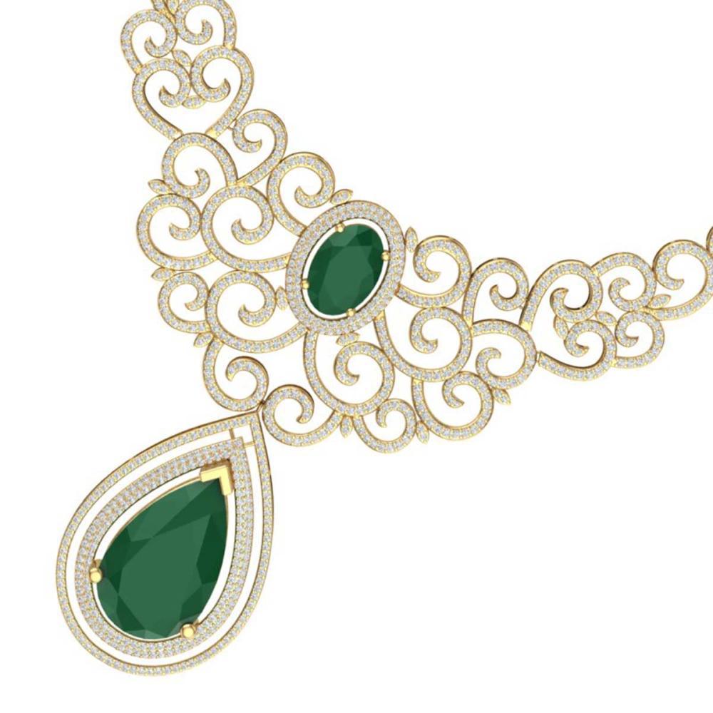 87.52 ctw Emerald & VS Diamond Necklace 18K Yellow Gold - REF-2000V2Y - SKU:39838