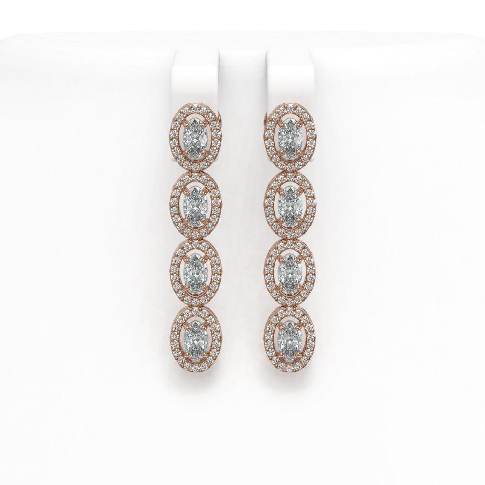 4.52 ctw Oval Diamond Earrings 18K Rose Gold - REF-381Y7X - SKU:43017