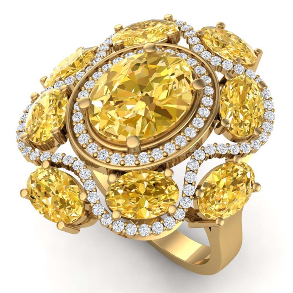 7.68 ctw Canary Citrine & VS Diamond Ring 18K Yellow Gold - REF-178V2Y - SKU:39308