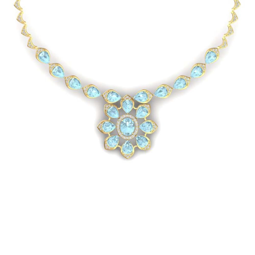 29.34 ctw Sky Topaz & VS Diamond Necklace 18K Yellow Gold - REF-527A3V - SKU:39041
