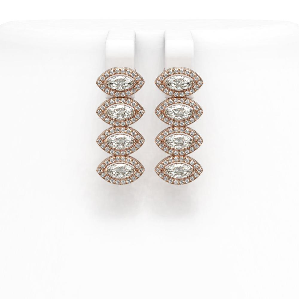 4.52 ctw Marquise Diamond Earrings 18K Rose Gold - REF-381M7F - SKU:43089