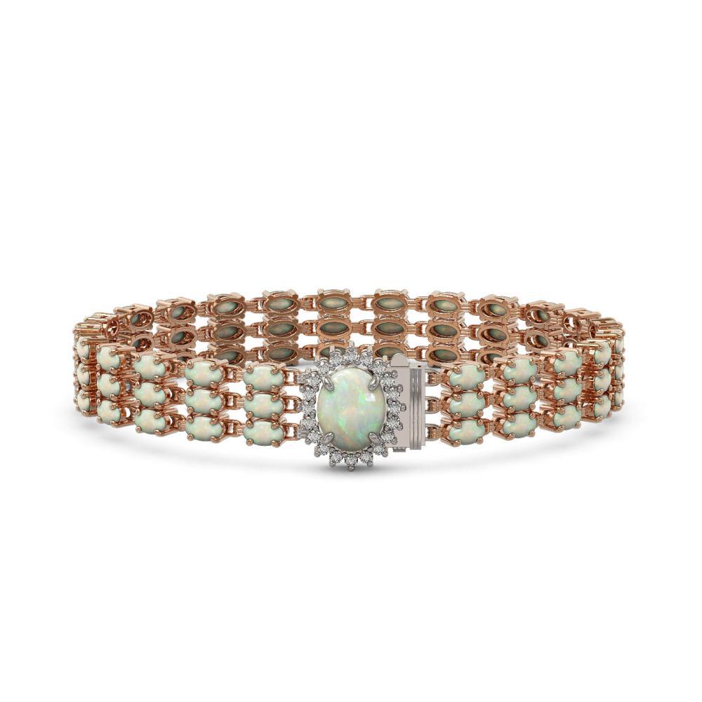 21.59 ctw Opal & Diamond Bracelet 14K Rose Gold - REF-212V2Y - SKU:45837