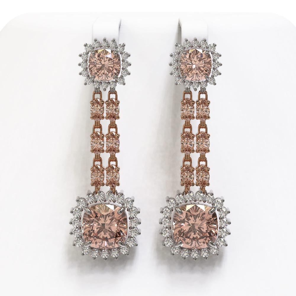 17.42 ctw Morganite & Diamond Earrings 14K Rose Gold - REF-431H3M - SKU:44922
